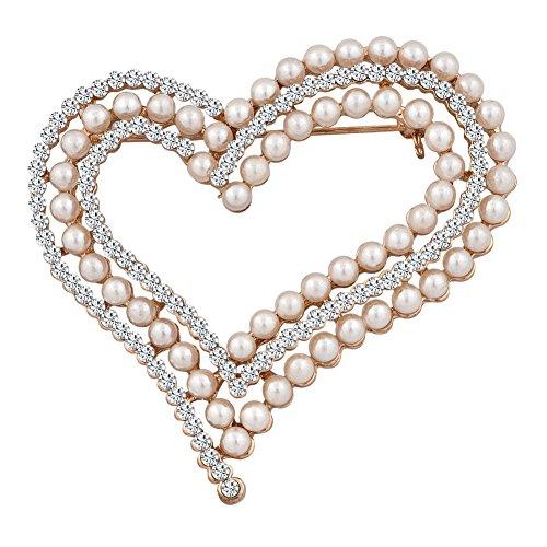 (JewelryHouse Fancy Vintage Heart Shaped Imitation Pearl Brooch Pin)