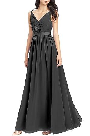 0fc82c4007 Elegant A-line V-Neck Chiffon Long Empire Bridesmaid Dresses Simple Prom  Dresses with