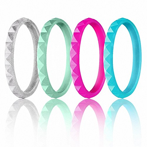 ROQ Silicone Wedding Ring For Women, Set of 4 Thin Stackable Diamond Silicone Rubber Wedding Bands - Mint, Turquoise, Silver, Pink - Size (Six Diamond Band)