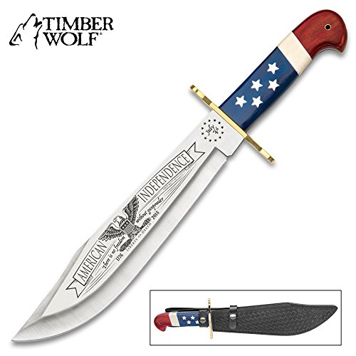 Timber Wolf 2018 American Independence Bowie/Fixed Blade Knife - Collectible Limited Edition, Laser Serialized - 3Cr13 Stainless Steel, Patriotic Blade Etchings - USA Flag Handle Theme - 16