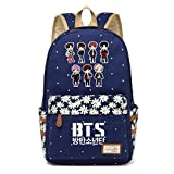 JUSTGOGO Korean Casual Backpack Daypack Laptop Bag College Bag Book Bag School Bag (Dark Blue 3)