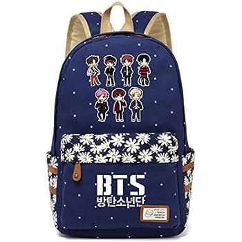 JUSTGOGO Korean Casual Backpack Daypack Laptop Bag College Bag Book Bag School Bag (Dark Blue 3)
