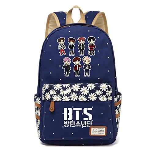 JUSTGOGO Korean Casual Backpack Daypack Laptop Bag College Bag Book Bag School Bag (Dark Blue 3) - Scarf Day Bag