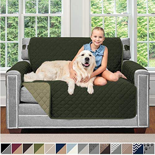 Sofa Shield Original Patent Pending Reversible Chair and a Half Slipcover, 2 Inch Strap Hook, Seat Width Up to 48 Inch Washable Furniture Protector, Slip Cover, Chair and a Half, Hunter Green Sage