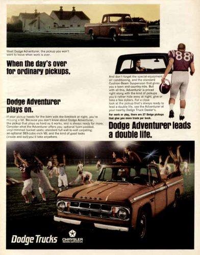 Super Color 1967 Advertisement for The New Dodge Adventurer Pickup Truck Original Paper Ephemera Authentic Vintage Print Magazine Ad/Article
