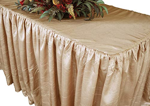 Hail Mary Gifts 8' Rectangular Ruffled Fitted Crushed Taffeta Tablecloth with Skirt - Champagne