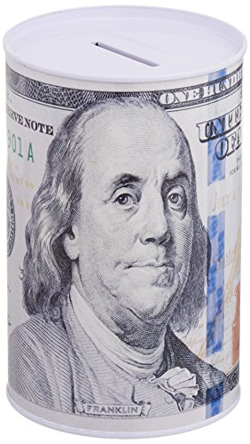 (Home Bay Metal Money Piggy Bank with 100 Dollar Bill Wrapping)