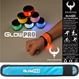 GlowPRO LED Slap Bracelets the Best Child Safety Gift - Sports Armband Cycle Gear has Neon Lights for Cycling. Glow in the Dark Reflective Running Gear, Night Vision for Jogging + Dog Walking BLUE