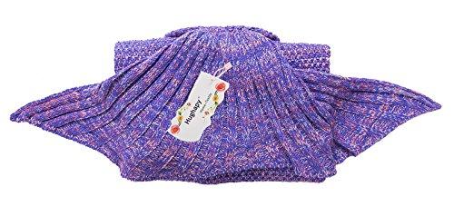 Hughapy Christmas Soft Mermaid Tail Blanket Handmade Living Room Sleeping Blanket For Kids Adult ( 71″x35″, Dark Purple)