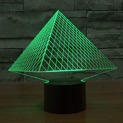MOCHEN Pyramid 3D Illusion Night Light, 7 Colors Automatically Change Touch Switch Desktop Decoration Birthday Gift, Acrylic Board, ABS Base, USB - Cable Fixture Pyramid