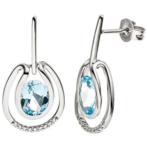 Boucles d'oreilles pendantes Boucles d'oreilles 18diamants brillants bleu topaze bleu clair en or blanc 585