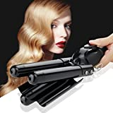 Digital Curling Iron Ceramic 3 Barrel Jumbo Curling Wand Fast Safe Beach Wave Iron with LCD 176℉-446℉ Temperature Display (25mm,Black)