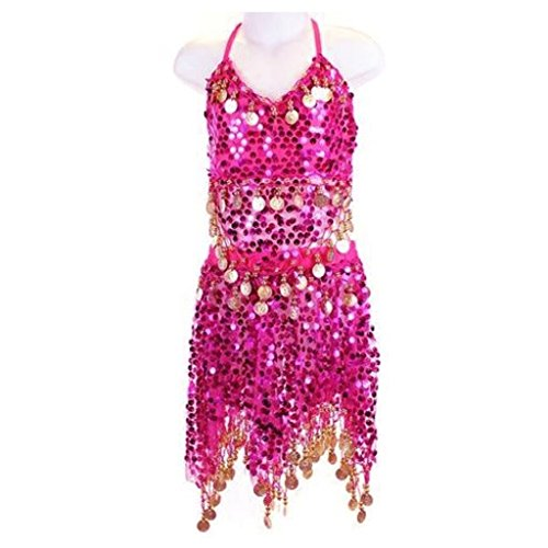 Pilot-trade Kid's Belly Dance Costume Girls Sparkly Circle Sequin Coins Top & Skirt Dark Pink (Sexy Belly Dance Costumes)