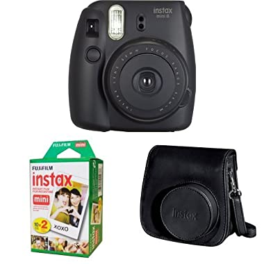 Fujifilm Instax Mini 8 (Black) + Instax Mini Twin Pack Film + Instax Groovy Case (Black)