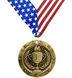 large gold medal - 1st Place Medal - Gold Medals - Comes with Exclusive Decade Awards Stars and Stripes American Flag V Neck Ribbon - 3 inch wide - Made of Strong Metal - Perfect for Competitions (GOLD (1st Place))