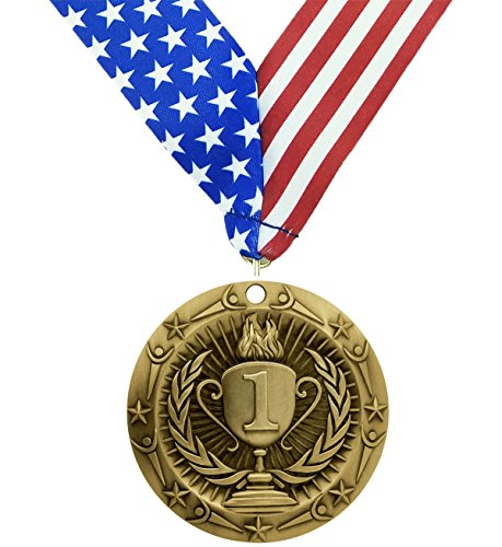 1st Place Medal - Gold Medals - Comes with Exclusive Decade Awards Stars and Stripes American Flag V Neck Ribbon - 3 inch wide - Made of Strong Metal - Perfect for Competitions (GOLD (1st Place))