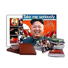 DA CHOCOLATE Candy Souvenir TAKE ME SERIOUSLY Chocolate Gift Set President of North Korea Kim Jong-un design 13x13cm 1 box (Rockets)