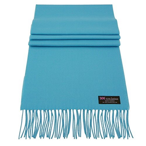 Rosemarie Collections 100% Cashmere Winter Scarf Made In Scotland (Turquoise)