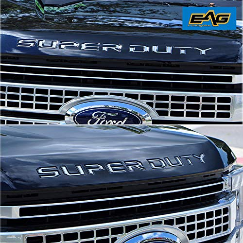 - EAG Hood Insert Letters Chrome Fit for 2017-2018 Ford Super Duty F250/F350/F450