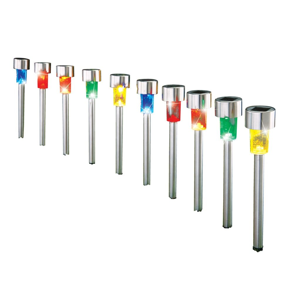 Collections Etc Solar LED Stainless Steel Colorful 10 Piece Pathway Light Set, Silver