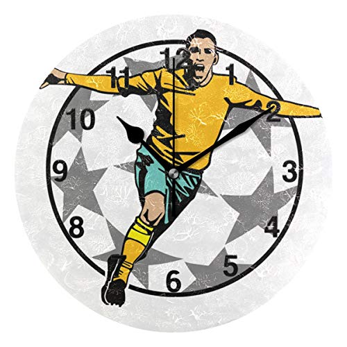 Jojogood Soccer Victory Clock Wall Decor Acrylic Decorative Round Clock for Home Bedroom Living Room Art (Victory Brass Clock)