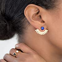 UNKE Luxury Fan-Shaped Turquoise Stud Earrings for Women