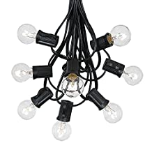 100 Foot G30 Outdoor Lighting Patio Globe String Lights, Clear, Black Wire, 125 Bulbs