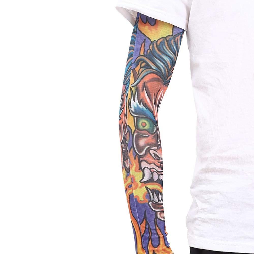 Ffooxxii Tattoo Sleeve Flower Arm Tattoo Summer Ice Silk Sun Visor Gloves Sleeve Men Long Ride Run Men Ice Sleeve Women@One size_13 models 2