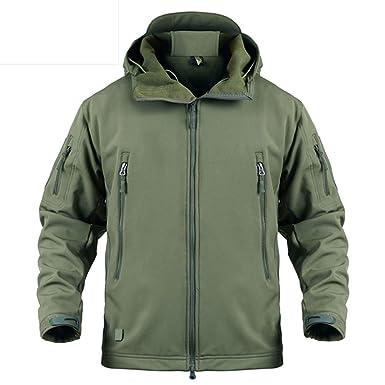 8daad7e67157b LASIUMIAT Men's Hooded Softshell Tactical Jacket Military Fleece Jacket  Outdoor Waterproof Hiking Hunting Jacket US XS