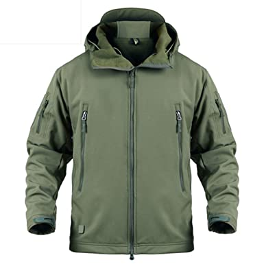 168363077fa8 LASIUMIAT Men's Hooded Softshell Tactical Jacket Military Fleece Jacket  Outdoor Waterproof Hiking Hunting Jacket US XS