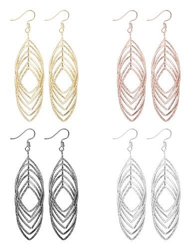 Finrezio 4 Pairs 4 Colors Drop Dangle Earrings for Women Jewelry Set Diamond Shaped Earrings