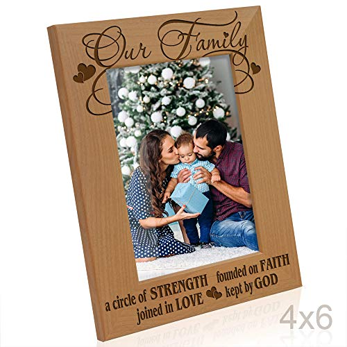 - A Circle of Strength, Founded on Faith, Joined in Love, Kept by God Engraved Natural Wood Picture Frame,, Housewarming, Religious & Spiritual, Wedding Gifts (4x6-Vertical) ()
