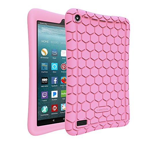 Fintie Silicone Case for All-New Amazon Fire 7 Tablet (7th Generation, 2017 Release) - [Honey Comb Upgraded Version] [Kids Friendly] Light Weight [Anti Slip] Shock Proof Protective Cover, Pink