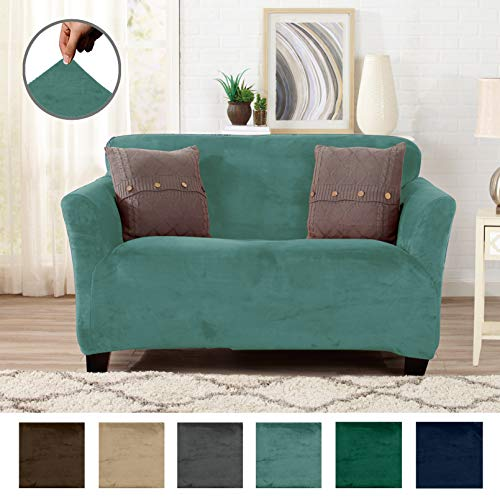 Great Bay Home Form Fit, Slip Resistant, Stylish Furniture Shield/Protector Featuring Velvet Plush Fabric Magnolia Collection Strapless Slipcover (Loveseat, Aqua - Solid) by Great Bay Home