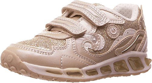 Geox Girls J Shuttle 9 Lighted velcro strap sneaker, Beige/Off White, 29 EU/11 M US Little Kid
