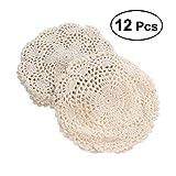 BESTONZON 12pcs Crochet Floral Doilies Cotton Coasters Non Slip Coffee Drink Cup Mats (Beige)