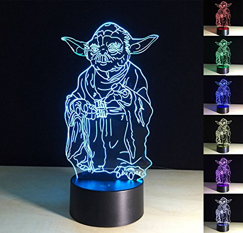 3D Lamp,3D Optical Illusion LED Night Light 7 Colors Changing LED Table Desk Lamp Yoda Figure Shape LED Nightlight Home Decoration Gifts Toys for Children Kids by ChiMoon