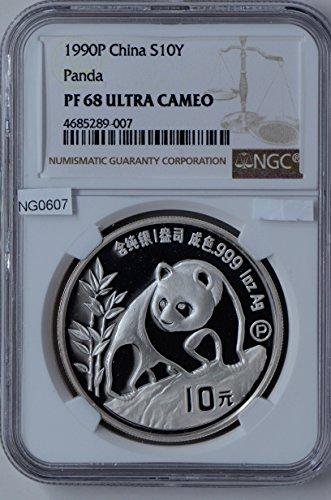 10 Yuan Silver Proof (1990 CN NG0607 China 10 Yuan P NGC PF68 Ultra Cameo proof panda silver DE PO-01 NGC)