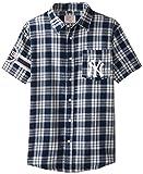 FOCO KLEW MLB New York Yankees Wordmark Flannel Short Sleeve Button-Up Shirt