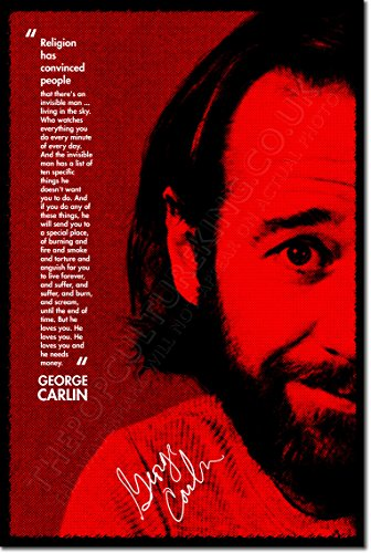 """George Carlin Art Print 3 """"RED MONEY"""" Photo Poster 12x8 Inch Unique Gift Quote"""