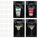 4 Vintage Chalkboard Decorative Poster Set Of Cocktails And Drinks Perfect To Decorate The Ambiance Of A Bar, Restaurant, Pub, Lounge, Or House - 11 X 17 Inches 1mm Thick Cardboard