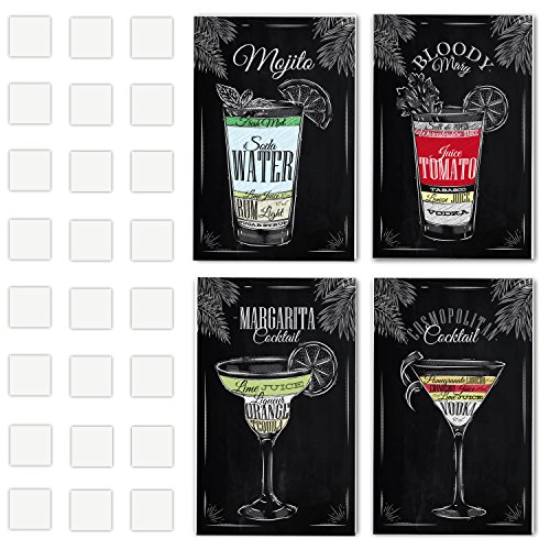 - 4 Vintage Chalkboard Decorative Poster Set Of Cocktails And Drinks Perfect To Decorate The Ambiance Of A Bar, Restaurant, Pub, Lounge, Or House - 11 x 17 Inches Cardboard - Great Party Decor Gift