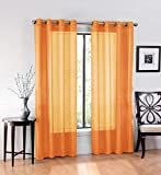 Ruthy's Textile 2 Piece Window Sheer Curtains Grommet Panels, Orange For Sale