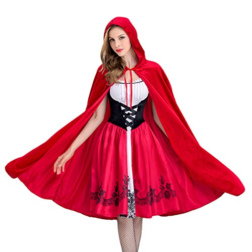 Quesera Women's Red Riding Costume Hood Cape Midi Dress Halloween Party Costume, Red, US Size XS=Tag Size S]()