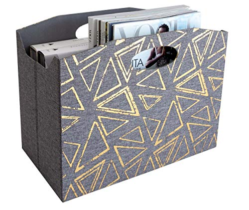 - Blu Monaco Foldable Magazine Basket - Gray Gold Print - Mail Basket - Newspaper Holder - Bathroom Magazine Rack - Decorative Storage Bins