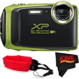 Fujifilm FinePix XP130 Digital Camera (International Version) No Warranty + Floating Strap + Fibercloth (Lime)