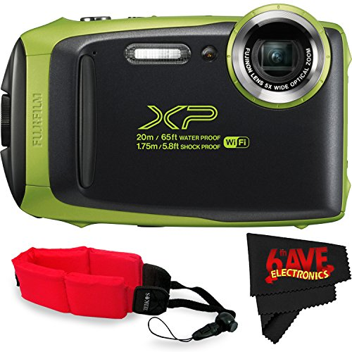 Fujifilm FinePix XP130 Digital Camera (International Version) No Warranty + Floating Strap + Fibercloth (Lime) by Fujifilm