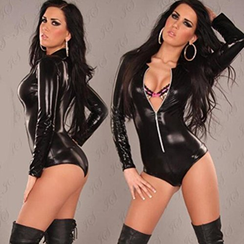 Sexy Lingerie Leather Uniforms Temptation Siamese Customers Costume Portrait of Clothing , black , xxl