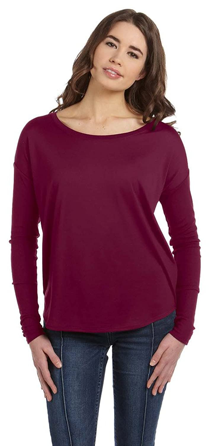 Bella + Canvas Womens Flowy Long-Sleeve T-Shirt with 2x1 Sleeves (8852) MAROON