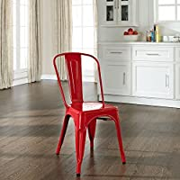 Crosley Amelia Metal Cafe Chair, Red